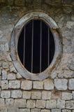 Circular Window. At Mantri Manai, Jaffna Palace Ruins. lime stone stock photography