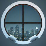 Circular window with night city view. Cozy circular window with pillows and night city view. 3D Rendering vector illustration