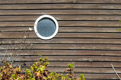 Circular window in and old house. A circular window is set into the wall of an old house. A flowering shrub reaches toward it. The shadows cast a short throw as royalty free stock images