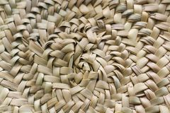 Circular woven straw background in beige and sand colors royalty free stock image