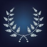 Circular wreath for awards victory champion  laurel wheat  and foliate wreath made up a lot of diamonds Royalty Free Stock Images