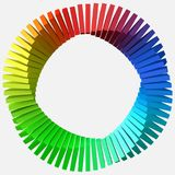 Circulary arranged colorful shapes. 3d style vector illustration. Suitable for any banner, ad, technology and abstract themes Stock Images