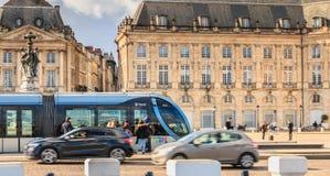 Circulating tram place de la Bourse in bordeaux. Bordeaux, France - January 26, 2018 : circulating tram place de la Bourse on a winter day Stock Photos
