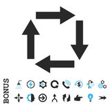 Circulation Arrows Flat Vector Icon With Bonus. Circulation Arrows vector bicolor icon. Image style is a flat pictogram symbol, blue and gray colors, white Royalty Free Stock Photo