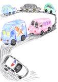 Circulation dense sur la route, croquis de véhicules Photos stock
