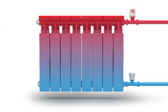 The circulation of heat flow in the radiator heating system. Concept vector illustration