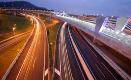 Circulation on the highway at night Royalty Free Stock Photography