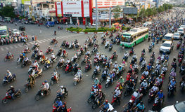 Circulation by motorbike at Asia city Royalty Free Stock Photo