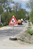 Circulation, réparation de route de signal d'avertissement Image stock