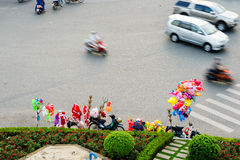 Circulation by vehicle at Hang Xanh intersection flyover, Saigon, Vietnam. Ho Chi Minh city aka Saigon is the largest city and economic center in Vietnam with Stock Photography