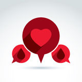 Circulatory system heart and blood icon, vector conceptual styli Stock Image