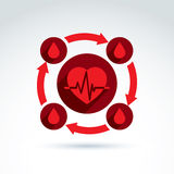 Circulatory system heart cardiogram and blood icon, cardio, bloo Stock Photography