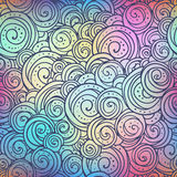 Circules ethno在被弄脏的五颜六色的背景的乱画样式 Boho样式传染媒介例证 免版税库存照片