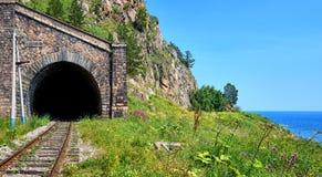 Circum-Baikal järnväg Ärke- bis för galleritunnelnummer 18 Royaltyfri Foto