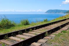 Circum-Baikal railroad Royalty Free Stock Images