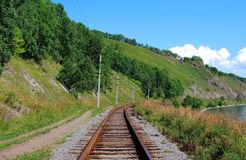 Circum-Baikal railroad Stock Photo