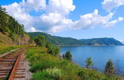 Circum-Baikal railroad Stock Images