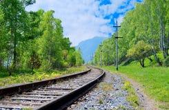 Circum-Baikal railroad. On the coast of the Lake Baikal Stock Image