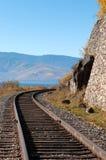 The Circum-Baikal Railway. Historical railway runs along Lake baikal in Irkutsk region of Russia Stock Image