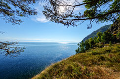 The Circum-Baikal Railway View. View from the Circum-Baikal Railway - a historical railway that runs along Lake Baikal in the Irkutsk region of Russia Royalty Free Stock Images