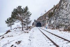 Circum-Baikal Railway winter day time. Circum Baikal Railway winter day time. Russia Stock Image