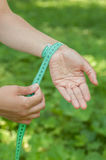 The circumference of the wrist. Photo Royalty Free Stock Photography