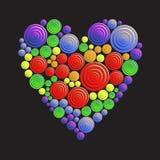 Circunda o teste padrão do coração no fundo preto Imagens de Stock