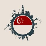 Circunde com o porto da carga e viaje silhuetas relativas Bandeira de Singapore Fotos de Stock