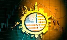 Circunde com o porto da carga e viaje silhuetas relativas Bandeira dos EUA ilustração stock