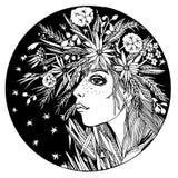 Circunde a composição de uma menina com as flores no cabelo ilustração stock