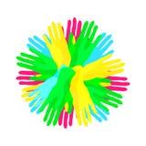 Circunde de las manos, de comunidad o de zambullida traslapada colorida simple stock de ilustración