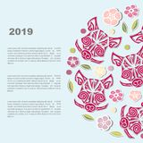 Circunde el concepto con la cabeza del ` s del verraco o del ` s del cerdo con las flores stock de ilustración