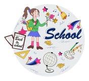 Circunde el concepto con símbolos de los temas y de la muchacha de escuela con flo libre illustration