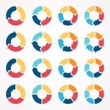 Circunde el diagrama infographic 3, 4, 5, 6 de las flechas libre illustration