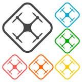 Circunde el icono del vector para el quadrocopter, quadrocopter de la silueta que los iconos de una visión superior fijan Fotografía de archivo