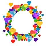 Circunde el marco con los corazones en el fondo blanco para su texto Fotografía de archivo libre de regalías