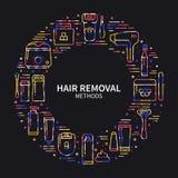 Circunde el marco con símbolos de los métodos del retiro del pelo en la línea estilo El afeitar azucarando el laser que encera la Fotos de archivo libres de regalías