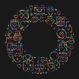 Circunde el marco con símbolos del amor en la línea estilo Ame la datación de la relación de los pares que se casa tema romántico Imágenes de archivo libres de regalías
