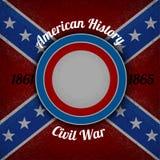 Circunde el marco para su etiqueta en fondo del grunge de la bandera confederada Imagen de archivo
