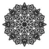 Circunde el ornamento del cordón, modelo geométrico ornamental redondo del tapetito, mandala aislada blanco y negro Fotografía de archivo libre de regalías