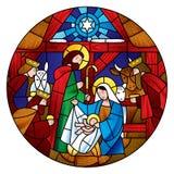 Circunde la forma con la Navidad y la adoración de la escena de unos de los reyes magos stock de ilustración