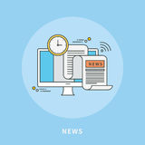 Circunde la línea de color diseño plano de las noticias, ejemplo moderno Fotografía de archivo