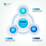 Circunde la plantilla infographic del diseño de tres pasos para las estadísticas Fotos de archivo libres de regalías