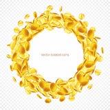 Circunde las monedas de oro del marco, aisladas en transparente Imagen de archivo