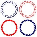 Circunde a linha arte da corda azul e vermelha isolada Imagem de Stock Royalty Free