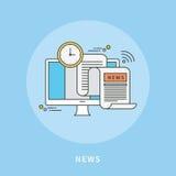 Circunde a linha de cor projeto liso da notícia, ilustração moderna Fotografia de Stock