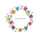 Circunde los corazones coloridos vector del día de San Valentín y la tarjeta de felicitación de los copos de nieve stock de ilustración
