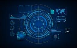 Circunde o conceito de projeto da tela do sistema virtual dos serviços de inteligência artificial de HUD GUI UI ilustração do vetor