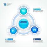 Circunde o molde infographic do projeto de três etapas para estatísticas Fotos de Stock Royalty Free