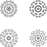 Circunde o ornamento do laço, teste padrão geométrico decorativo redondo do doily, decoração do floco de neve do Natal, teste pad Imagem de Stock